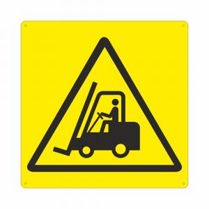 Cartello con simbolo W014 pericolo carrelli in movimento