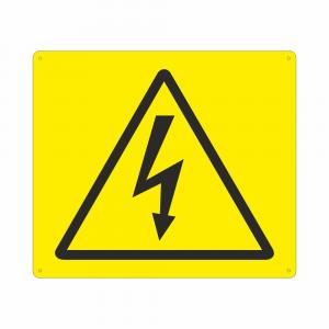 Cartello con simbolo W012 pericolo corrente elettrica