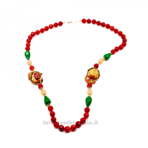 Collana Rossa in soutache con pietre di corniola e ceramica di Caltagirone - Gioielli Siciliani