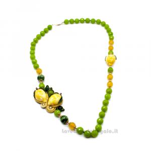 Collana Verde in soutache con agata verde e ceramica di Caltagirone - Gioielli Siciliani