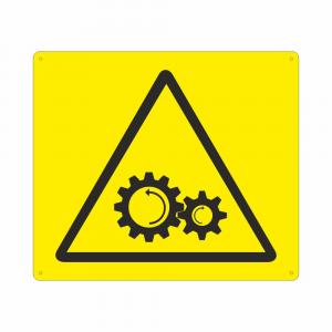 Cartello con simbolo pericolo organi in movimento