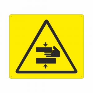 Cartello con simbolo pericolo schiacciamento mani