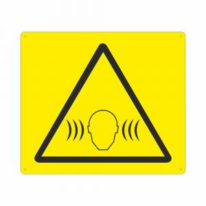 Cartello con simbolo pericolo rumore