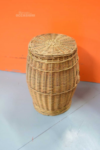 Trash In Wicker With Lid Height 58 Cm