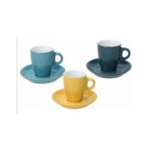 Confezione Di Tazze Con Piattino 6 Pezzi Coordinato Da Caffè/Latte Relif Maya Colori Pastello Assortiti In Ceramica