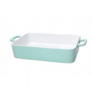 Pirofila Con Manico Bianco All'interno Colore Turchese All'esterno In Ceramica 35x20x6h cm Adatta In Forno Casa Cucina