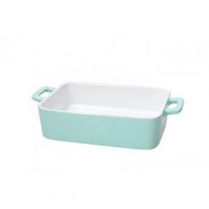 Pirofila Con Manico Bianco All'interno Colore Turchese All'esterno In Ceramica 26x15x5h cm Adatta In Forno Casa Cucina