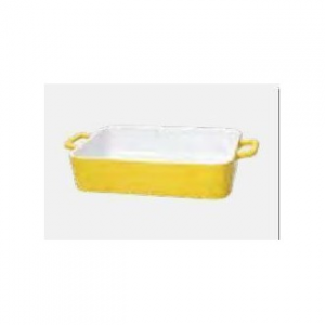 Pirofila Con Manico Bianco All'interno Colore Giallo All'esterno In Ceramica 35x20x6h cm Adatta In Forno Casa Cucina