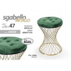 Sgabello Colore Verde In Tessuto Appoggio In Metallo Intrecciato Particolare Per Arredare Casa 35x35x47cm