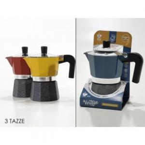 Caffettiera Vintage 3 Tazze Tre Colori Disponibili Giallo Blu Rosso Casa Cucina
