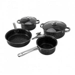 Batteria Di Pentole Linea Marmoriz Marmorizzata Nera 7 Pezzi Cucina Antiaderente Con Coperchio Casa Servizio di Pentole