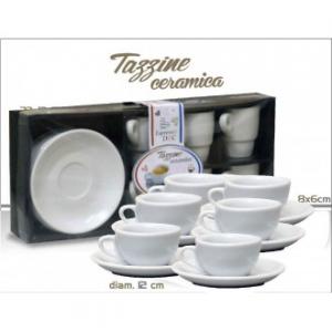 Confezione Set 6 Tazzine Da Caffè Con Piattino Coordinato Colore Bianco Semplice Cucina Per La Tavola