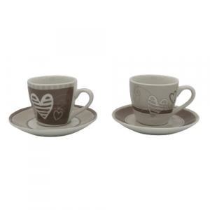 Brandani 2 tazze caffé batticuore porcellana