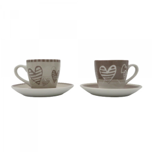 Brandani 2 tazze caffé batticuore