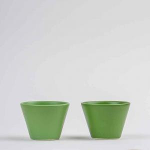Bicchiere ciotola da tavola in ceramica opaca verde made in Faenza