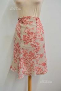 Skirt Woman Luca Daltieri 10% Silk Size.50 With Fantasy Roses