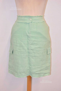 Skirt Woman Guess Green Size 42 100% Linen With Pockets - The Side