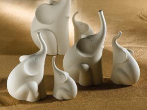 Scultura  Design Elefante stilizzato in grès porcellanato Lineasette N430A Made in Italy