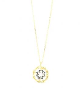 By Simon - Collana in Argento 925 con cristallo bianco pendente