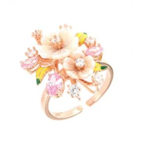 By Simon - Anello in Argento 925 con fiori in madreperla