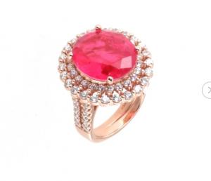 By Simon - Anello in Argento 925 con zircone ovale color rubino