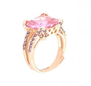 By Simon - Anello in Argento 925 con zircone centrale rosa