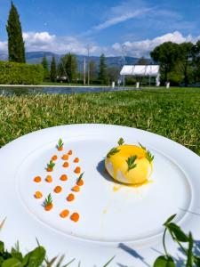 Cheese cake, mousse al Pistacchio di Bronte D.O.P., carota del nostro orto e mandarino
