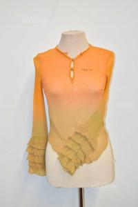 Camicia Donna Guess Arancione Marrone Sfumata Con Perline Tg.44