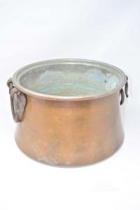 Secchio In Rame Con Maniglie In Ferro Artigianali 34x22 Cm
