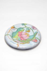 Posacenere In Ceramica italica ars Azzurro Raffigurante Fiori