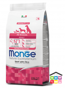 Monge All Breeds Adult Monoprotein Manzo con Riso 2,5 kg /12kg