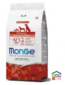 Monge All Breeds Puppy & Junior Agnello con Riso 2,5kg / 12kg