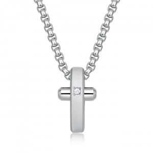 Collana uomo Brosway Crux in acciaio lucido/satinato e croce BRX11