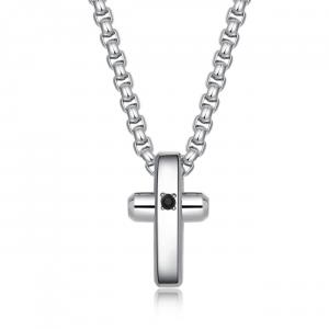 Collana uomo Brosway Crux in acciaio lucido con croce BRX09