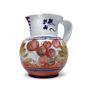 Brocca tradizionale in ceramica di Faenza con disegno floreale