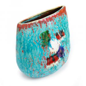 Vaso basso artigianale in ceramica di Faenza