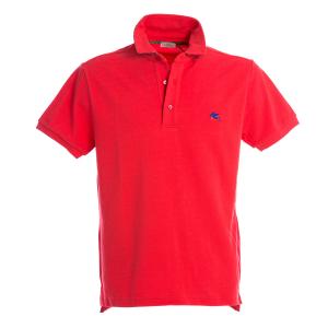 Polo Manica Corta Etro Rossa Sottocollo Fantasia Paisley