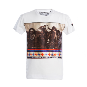 T-Shirt Bastille Nera Stampa Biker