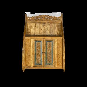 Credenza bassa in legno di teak con intagli