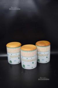 Tris Vasetti In Ceramica Con Tappo In Legno