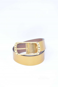 Belt Woman Golden In True Leather Made In Italy