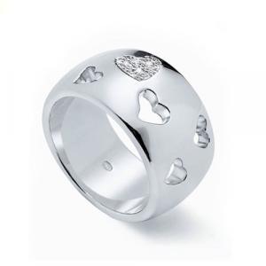 Anello Molecole gioielli. Cuori, argento e cristalli.