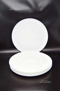 6 Piatti Tondi Bianchi In Ceramica 32 Cm