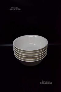 6 Ciotole Bianche In Ceramica Titz China New Bone 23 Cm Diametro