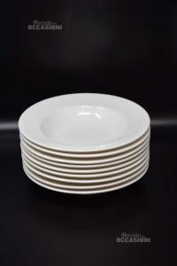 9 Piatti Fondi In Ceramica Bianchi Ritz China 24 Cm Diametro