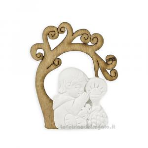 Applicazione Albero della vita in legno con bimbo in gessetto 4.5 cm - Decorazioni comunione bimbo