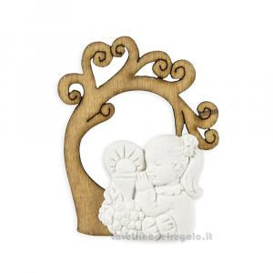 Applicazione Albero della vita in legno con bimba in gessetto 4.5 cm - Decorazioni comunione bimba