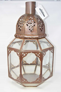 Lanterna Portacandela Antica In Ferro E Vetro Alta 55 Cm