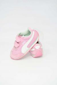 Scarpe Bambina Puma Rosa / Bianche Num. 22