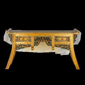 Consolle in legno di teak con 2 cassetti e con intagli colorati floreali
